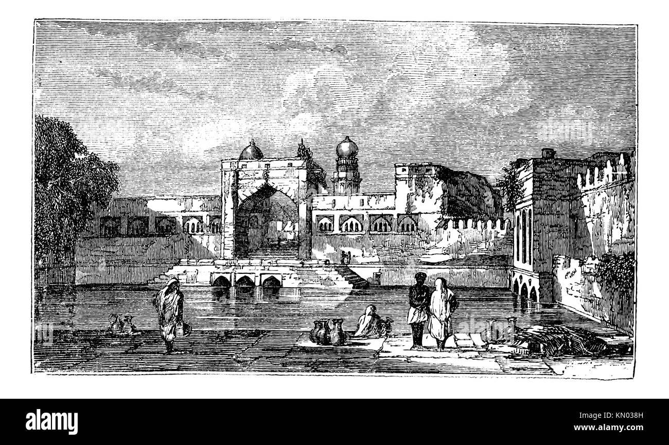 Ruins of Bijapur, in Karnataka, India, during the 1890s, vintage engraving  Old engraved illustration of Ruins of - Stock Image