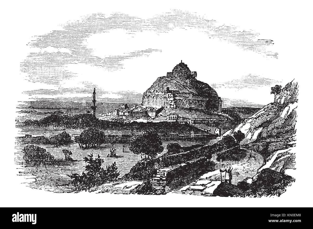 Daulatabad Fort in Maharashtra, India, during the 1890s, vintage engraving  Old engraved illustration of Daulatabad - Stock Image