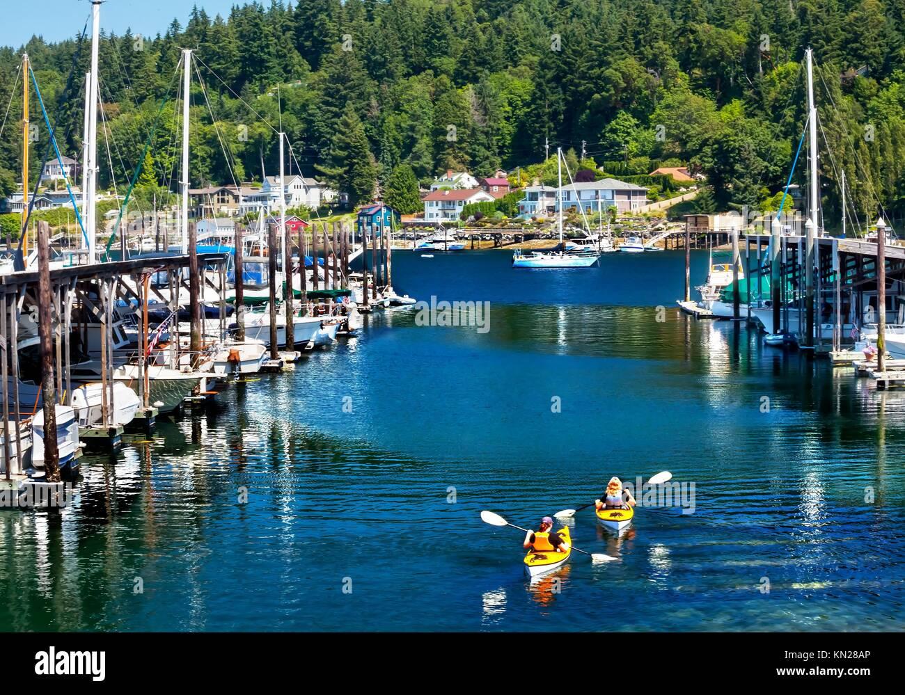 White Sailboats Marina Kayaks Reflection, Gig Harbor, Pierce County, Washington State Pacific Northwest - Stock Image