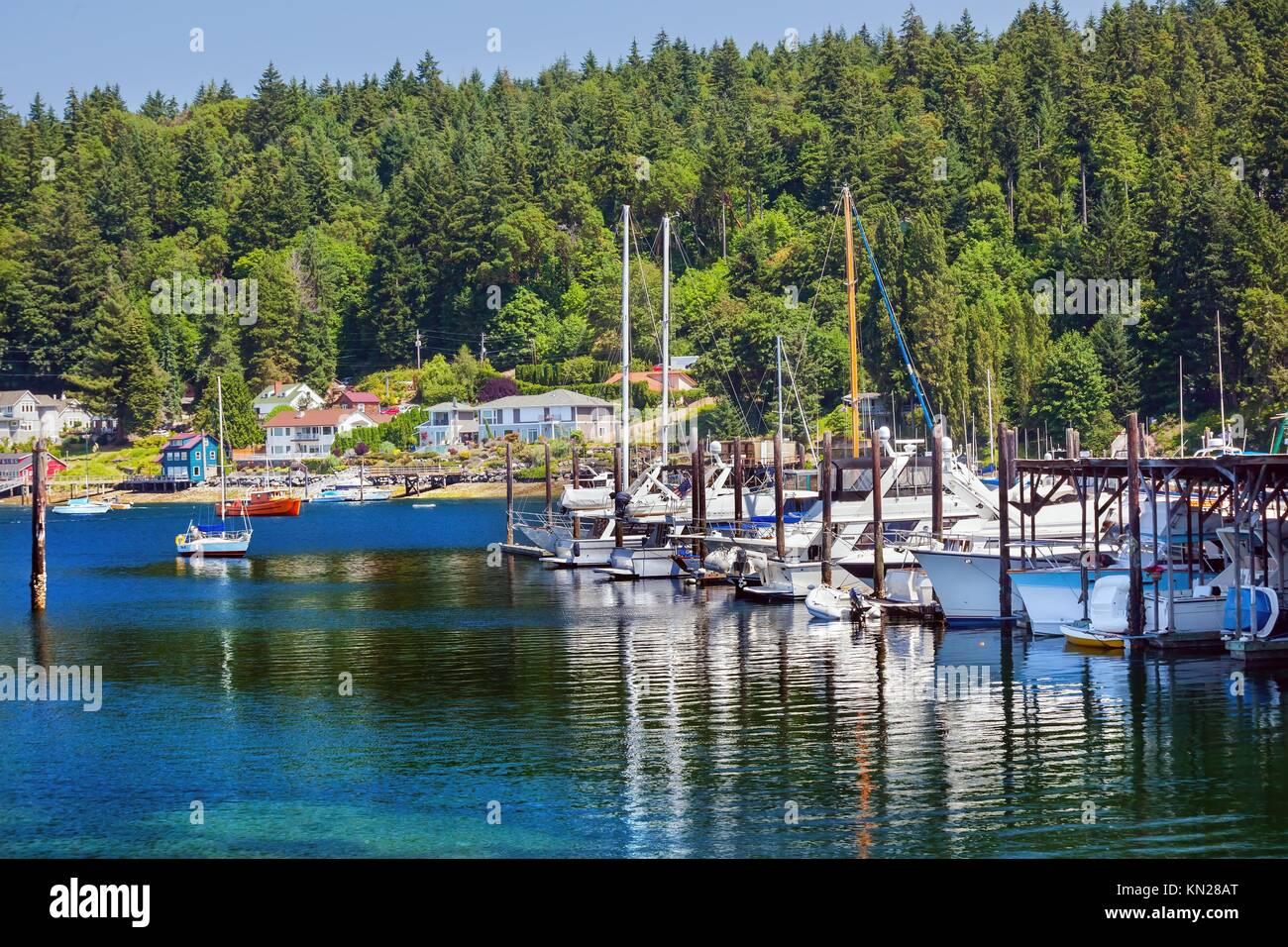 White Sailboats Marina Reflection, Gig Harbor, Pierce County, Washington State Pacific Northwest - Stock Image
