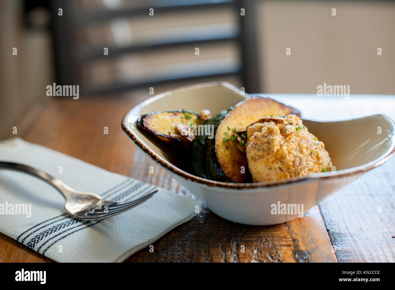 USA Virginia Williamsburg VA Culture Cafe serving fried mozzarella and acorn squash - Stock Image