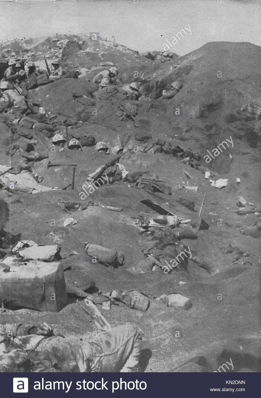 Japanese soldiers lie dead in Iwo Jima.The Battle of Iwo Jima (19 February – 26 March 1945) was a major battle in - Stock Image