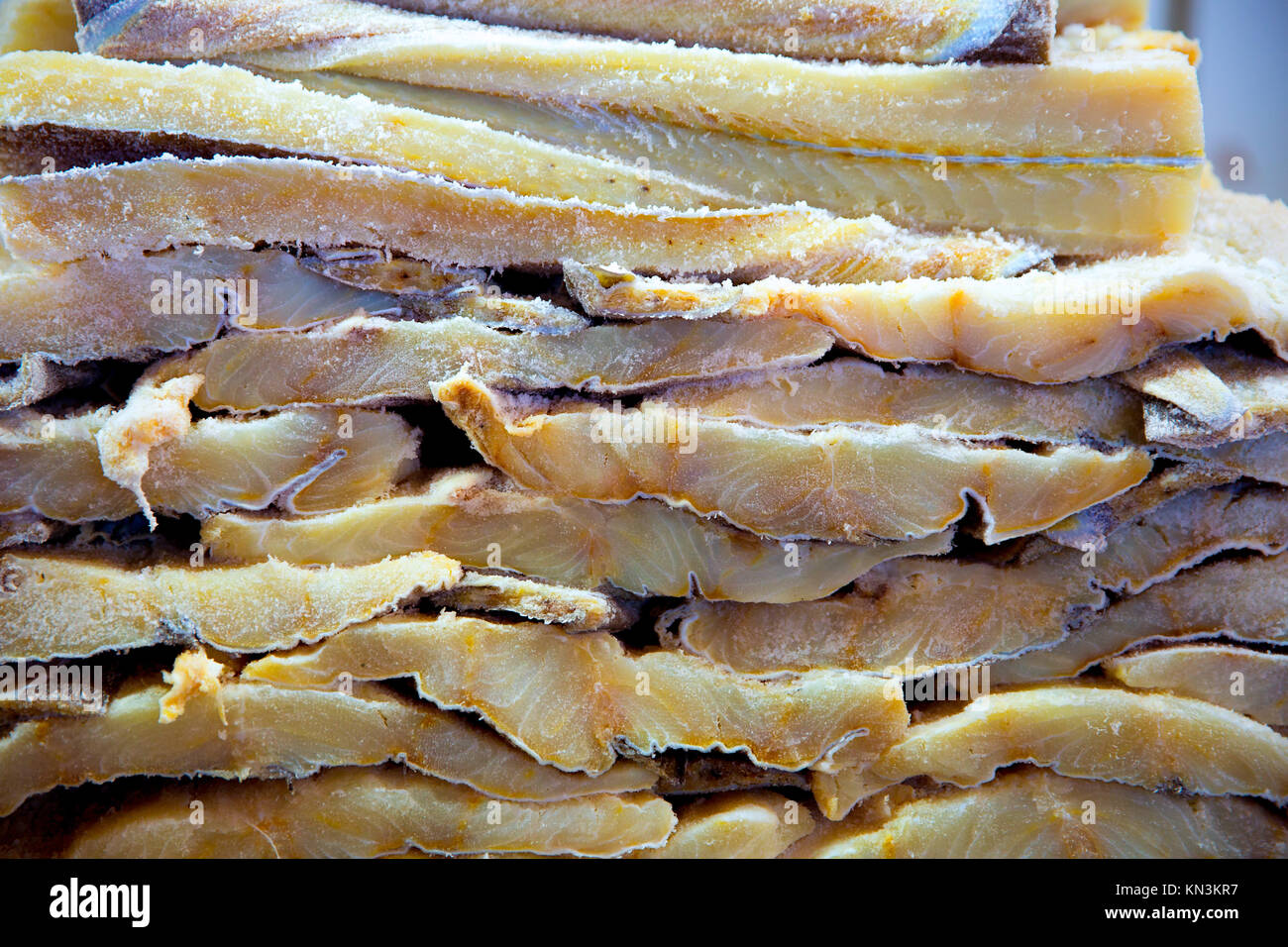Cod fish salted codfish in a row stacked in market stock for Where to buy salted cod fish