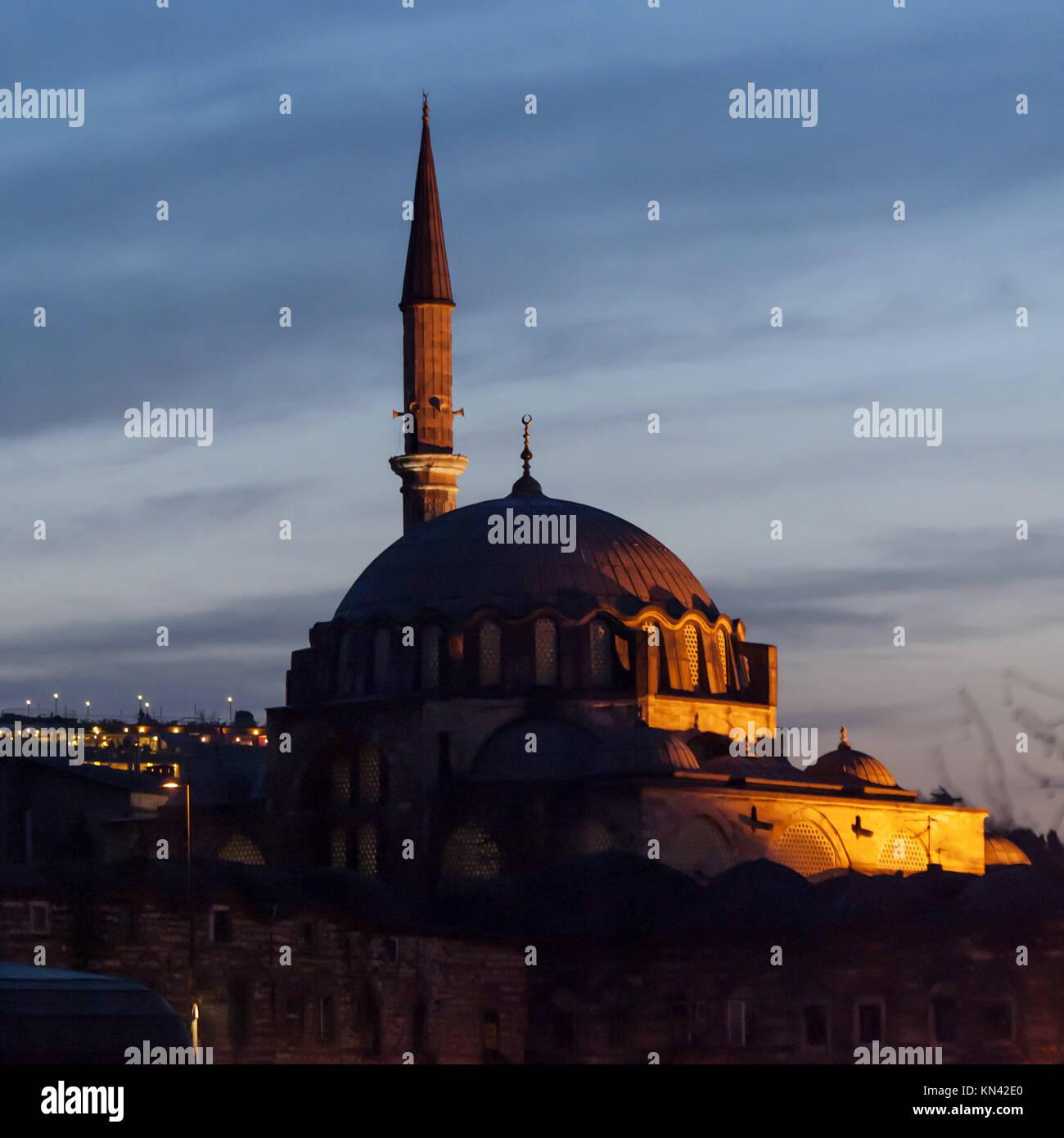 Rustem Pasha Mosque at sunset, Istanbul, Turkey. - Stock Image