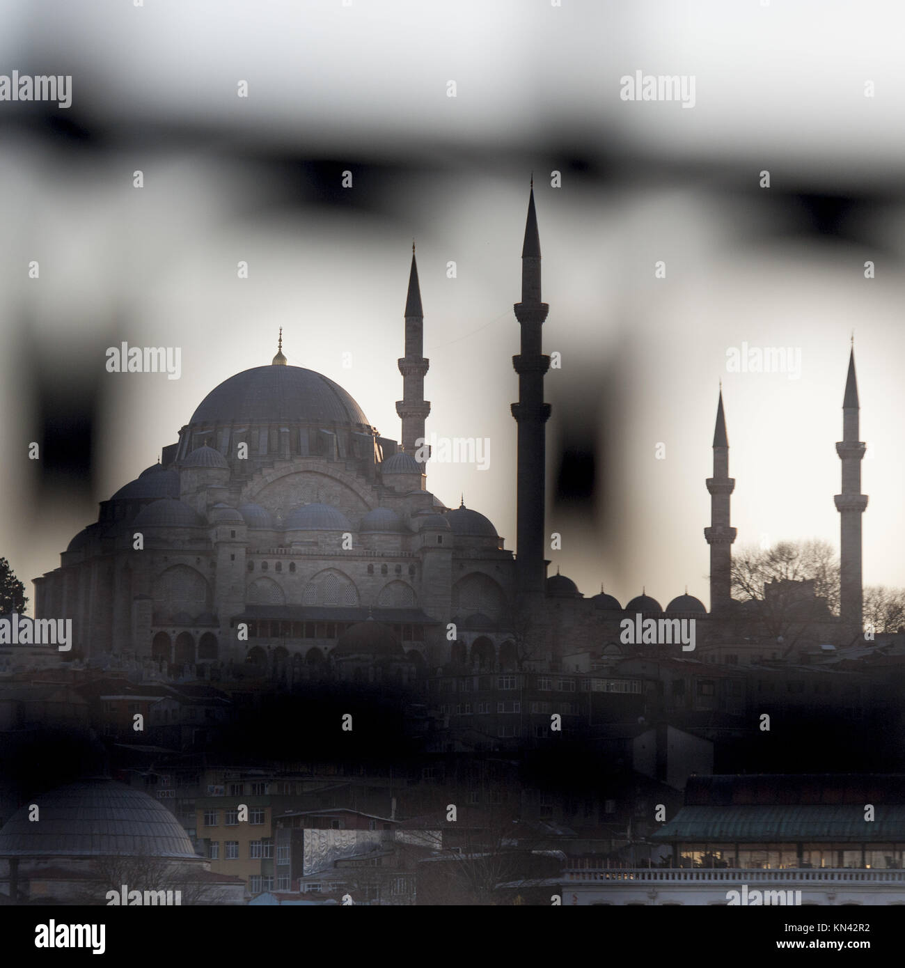 Rustem Pasha Mosque in a city, Istanbul, Turkey. - Stock Image