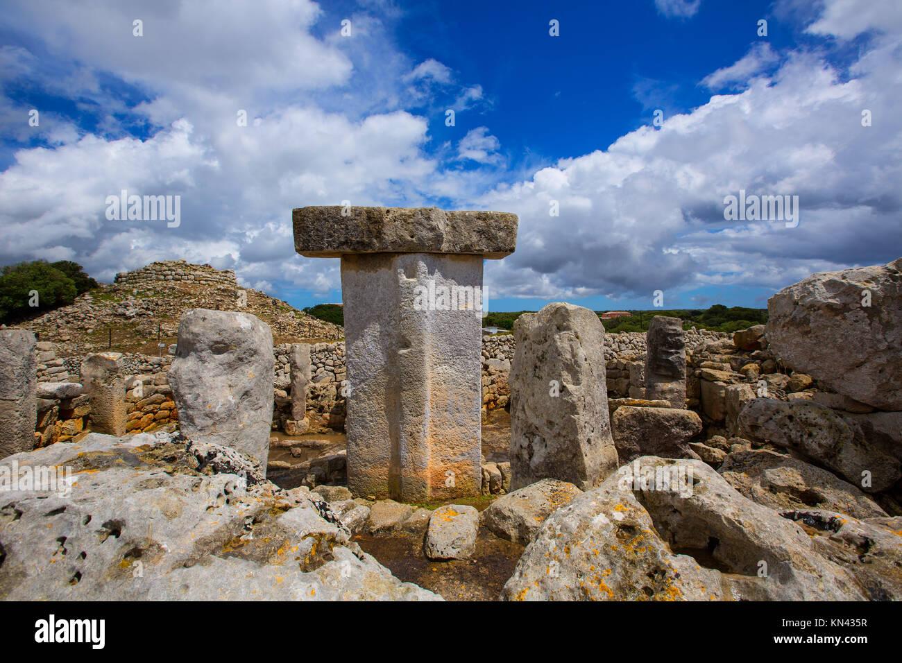 Menorca Taules Torralba de en Salort Salord prehistoric sanctuary in Balearic islands. - Stock Image