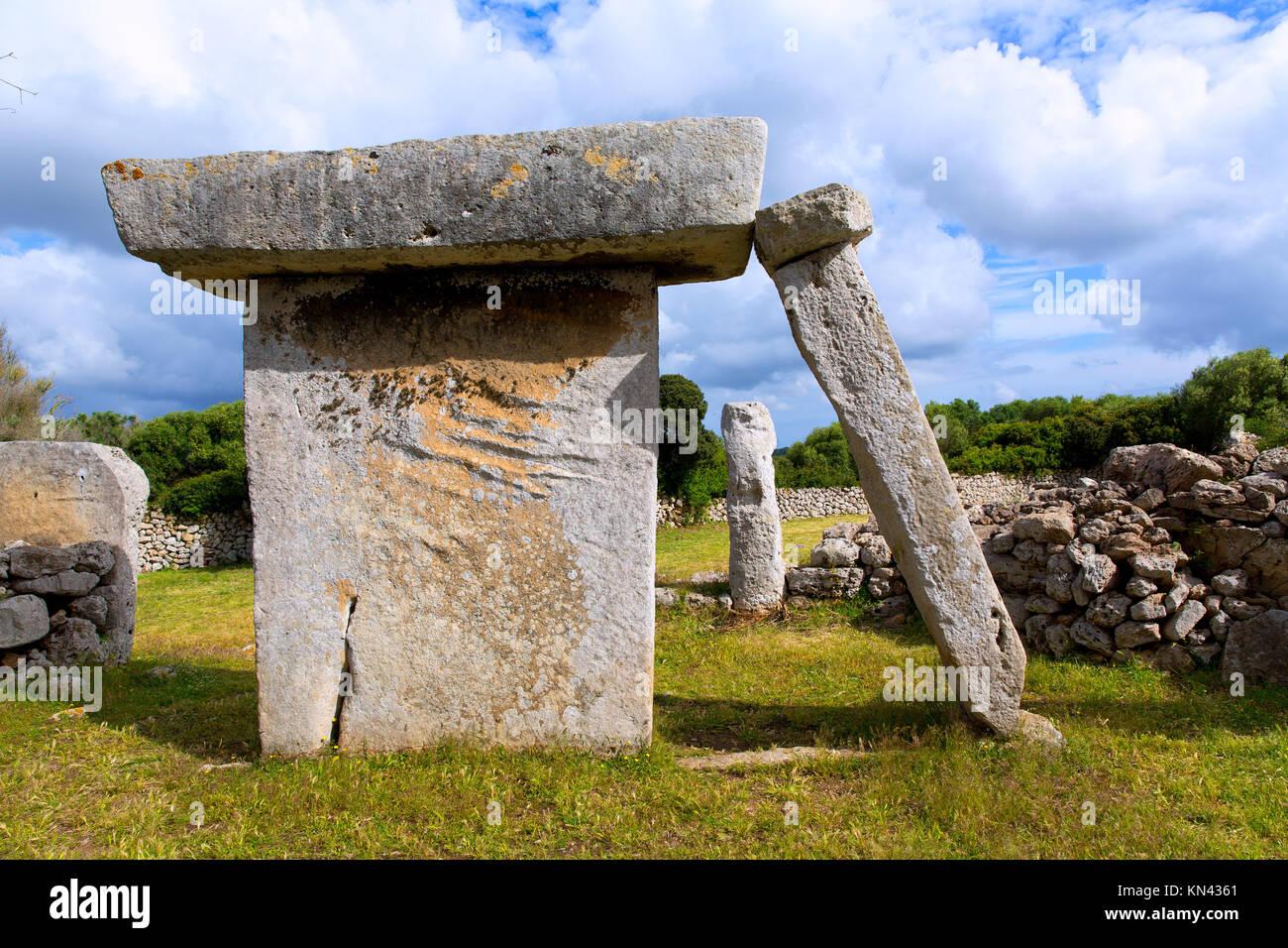 menorca Taules of Talati de Dalt prehistoric tables in Balearic islands. - Stock Image