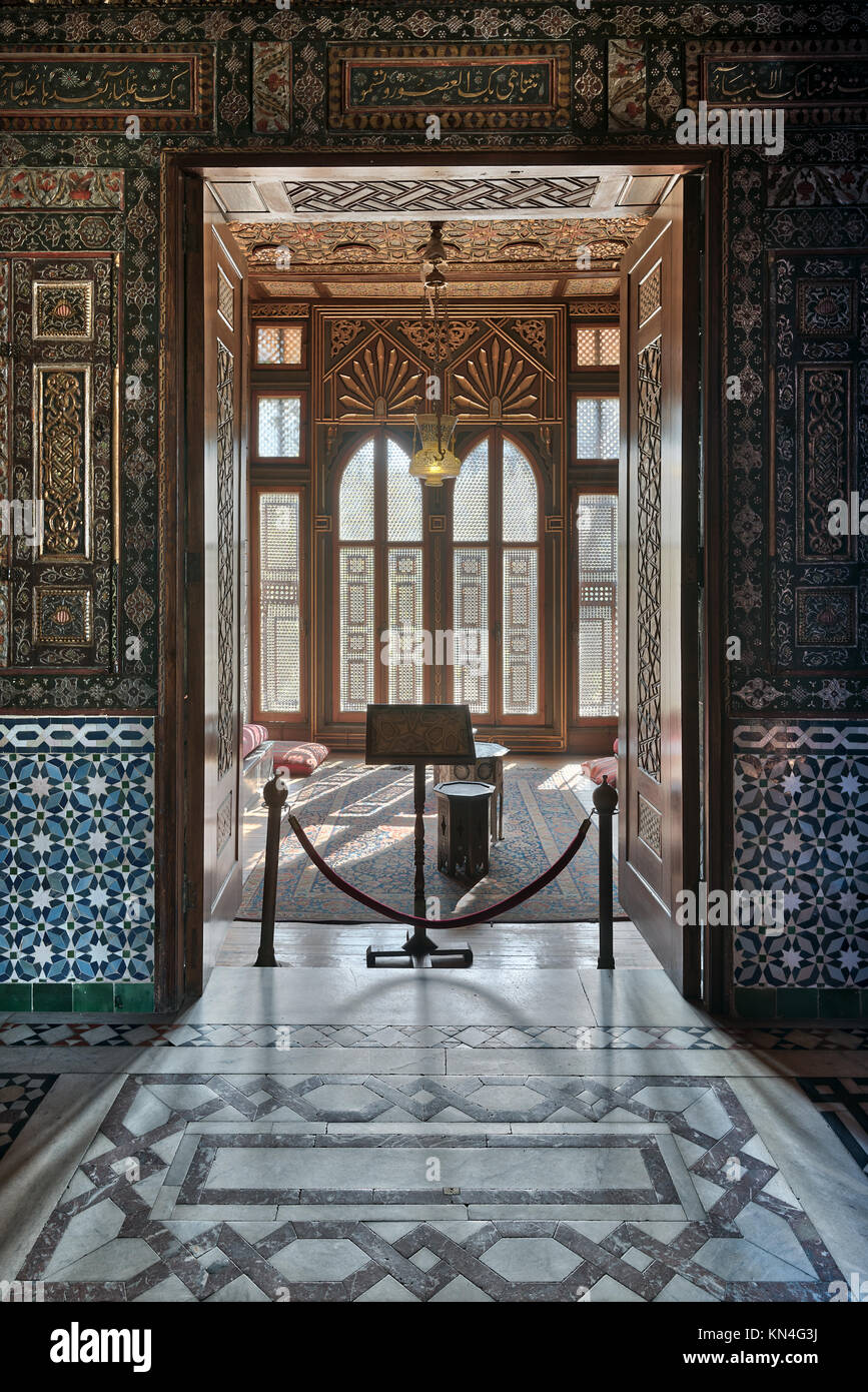 Cairo, Egypt - December 2 2017: Manial Palace of Prince Mohammed Ali. Entrance of a small room at reception hall - Stock Image