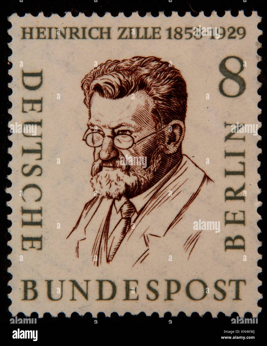 Heinrich Zille, a German illustrator and photographer, portrait on a German (FRG) stamp 1958 - Stock Image