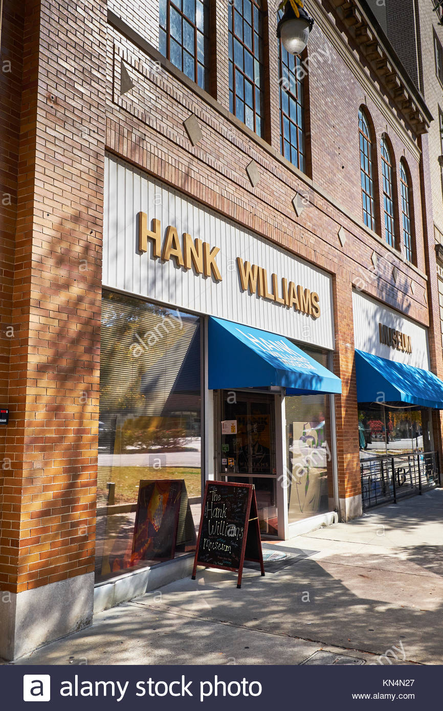 Hank Williams country Museum exterior and entrance in downtown Montgomery Alabama, USA. - Stock Image