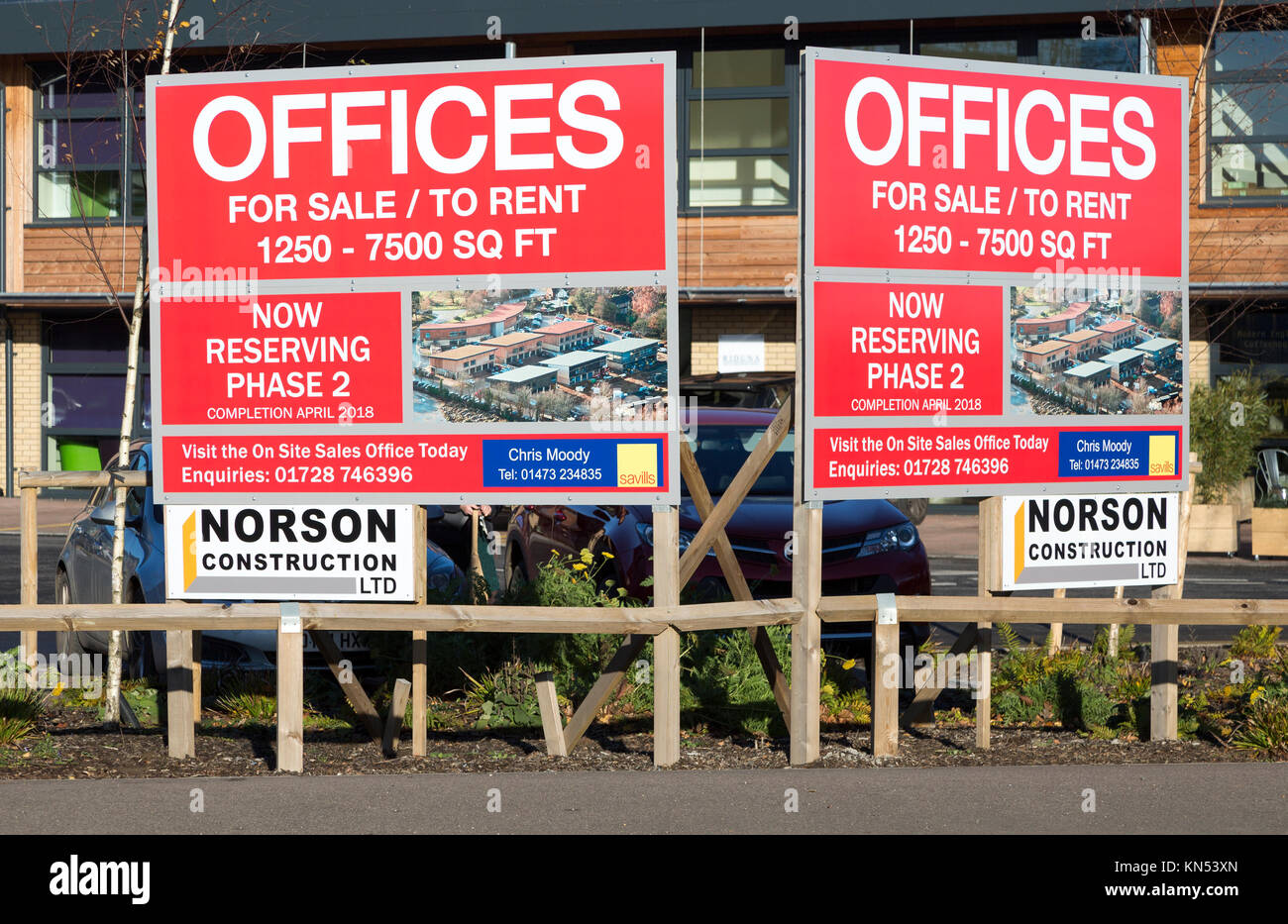 Offices for sale and rent sign, Riduna Park, Melton, Suffolk, England, UK - Stock Image