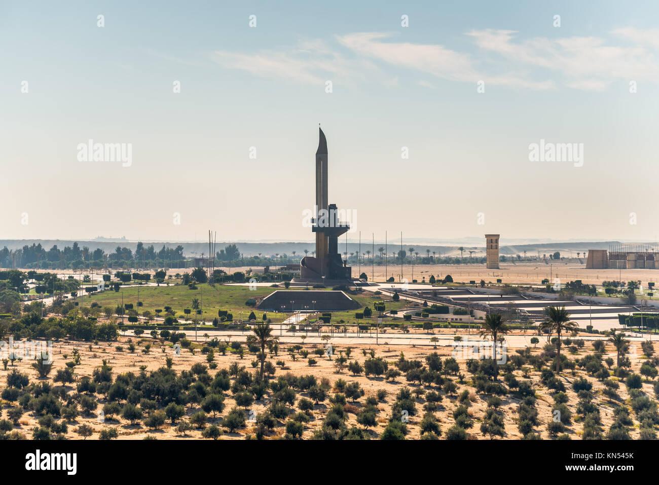 Ismailia, Egypt - November 5, 2017: AK-47 muzzle and bayonet, on the eastern shore of the Suez Canal, near Ismailia, - Stock Image