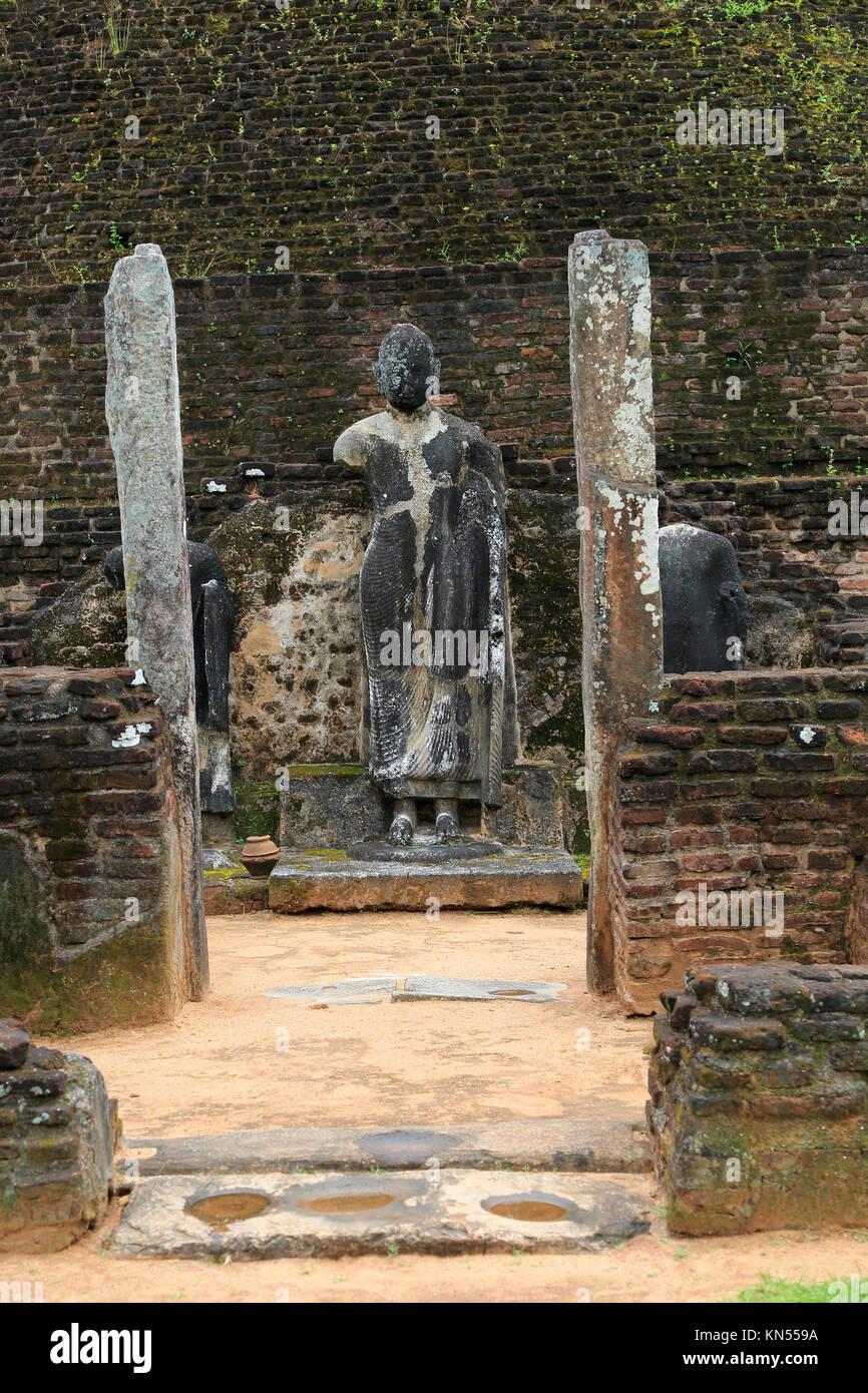 Pabula Vihara temple, UNESCO World Heritage Site, the ancient city of Polonnaruwa, Sri Lanka, Asia standing Buddha - Stock Image