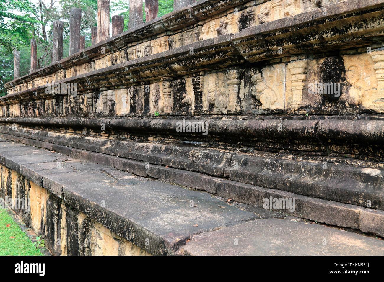 Council Chamber, Citadel, UNESCO World Heritage Site, the ancient city of Polonnaruwa, Sri Lanka, Asia - Stock Image