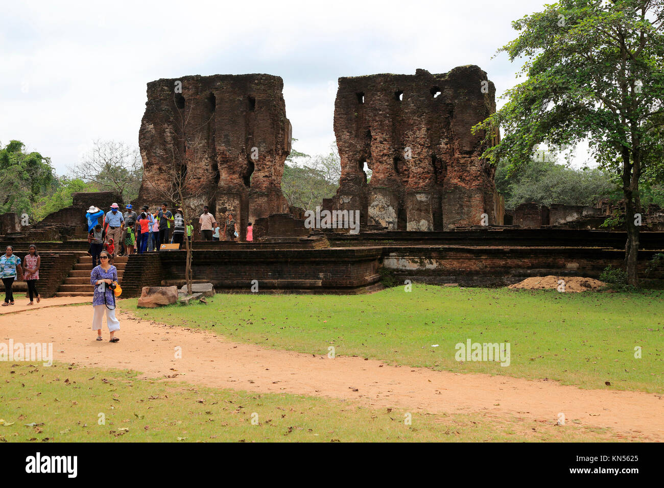 Royal palace in the Citadel, UNESCO World Heritage Site, the ancient city of Polonnaruwa, Sri Lanka, Asia - Stock Image