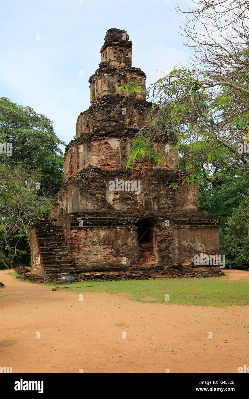 Satmahal Prasada building, The Quadrangle, UNESCO World Heritage Site, the ancient city of Polonnaruwa, Sri Lanka, - Stock Image