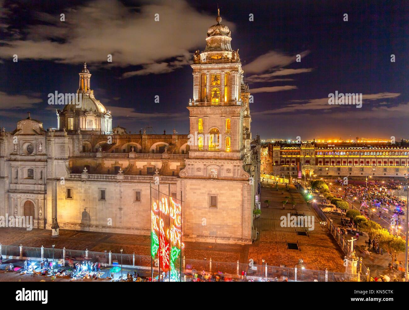 Metropolitan Cathedral and President's Palace in Zocalo, Center of Mexico City, at Night. - Stock Image