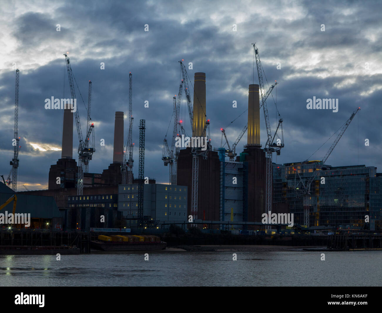 Battersea Power Station at dusk - Stock Image