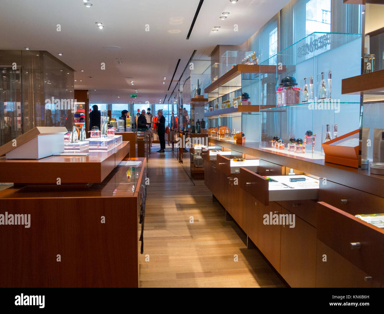 The interior of the Hermes store i n upmarket Bond Street, London - Stock Image