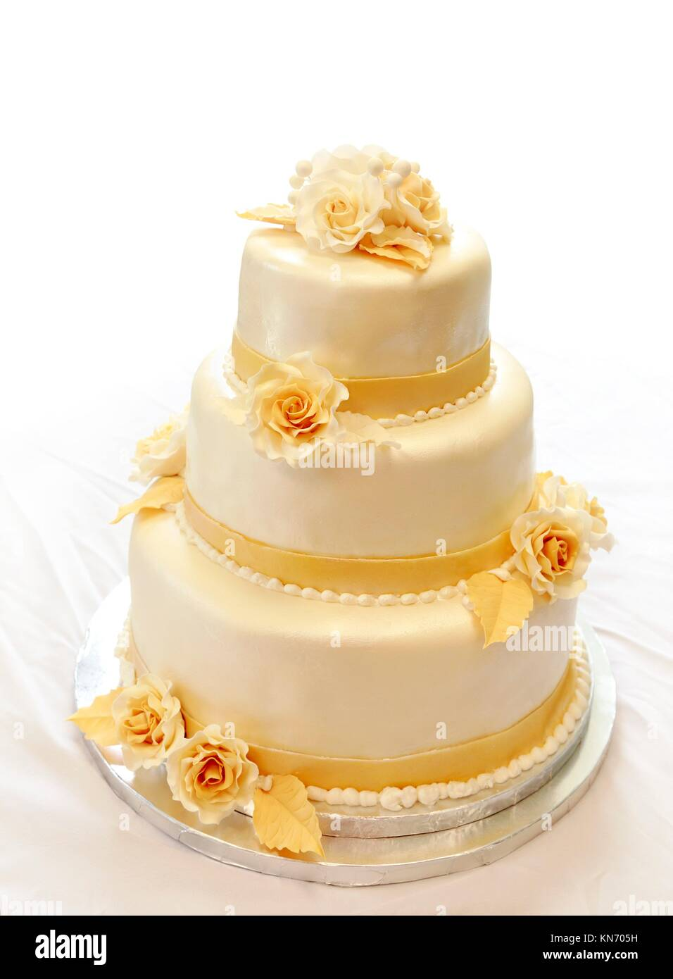 White Tiered Cake Isolated