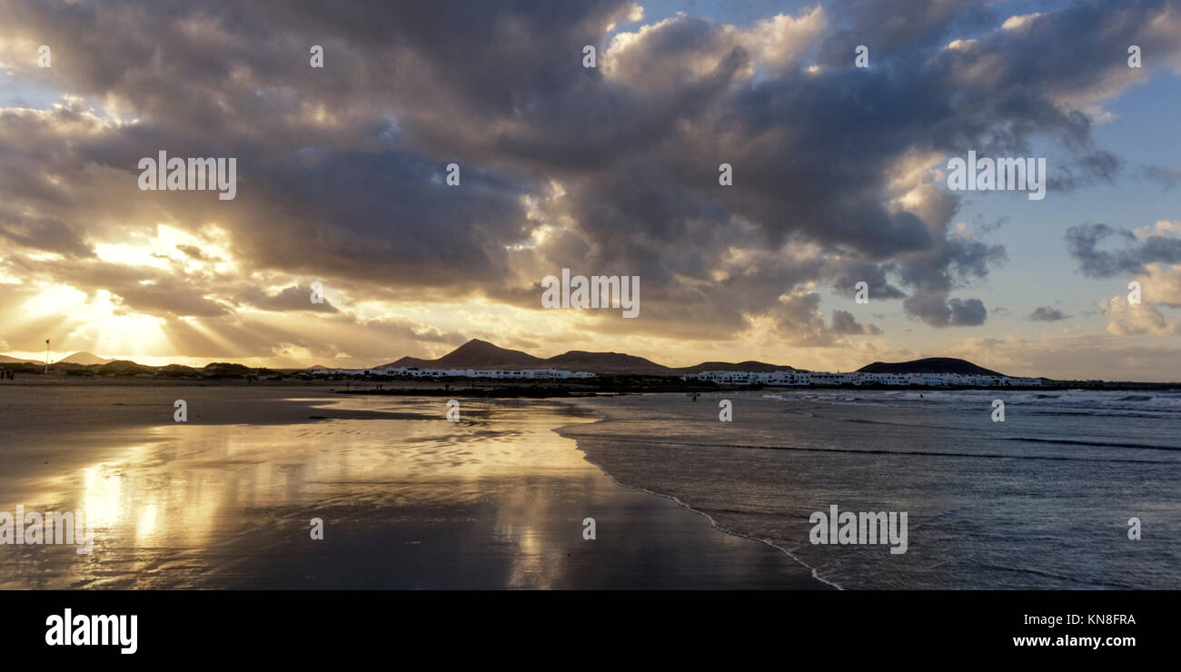 Famara beach at sunset, , Lanzarote, Canary Islands, Spain - Stock Image