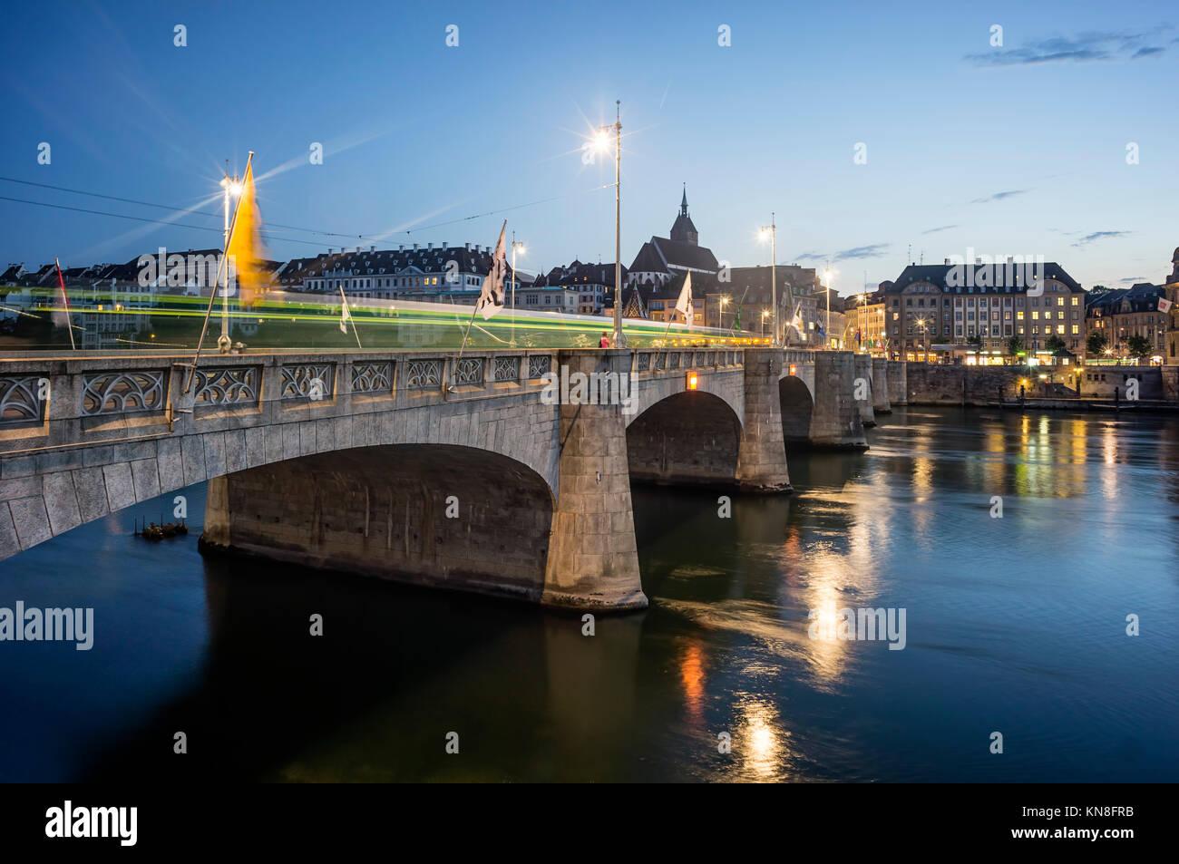 Middle Bridge, Rhine River ,  Basel,  Switzerland - Stock Image
