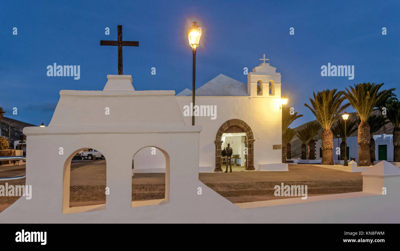 Femes, village church at twilight, Lanzarote, Canary Islands, Spain - Stock Image