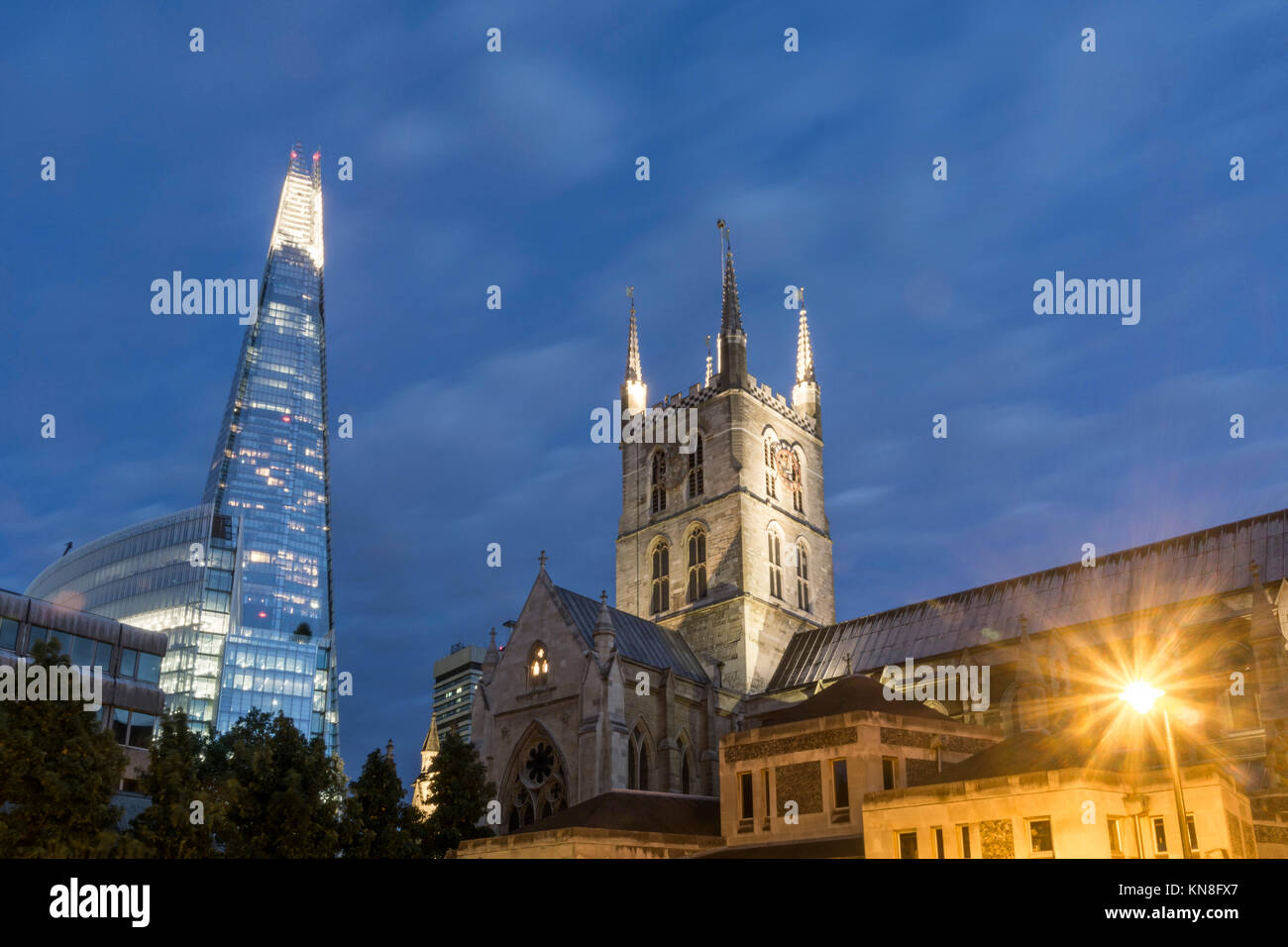 Southwark Cathedral, The Shard, Skyscraper, London, United Kingdom, - Stock Image