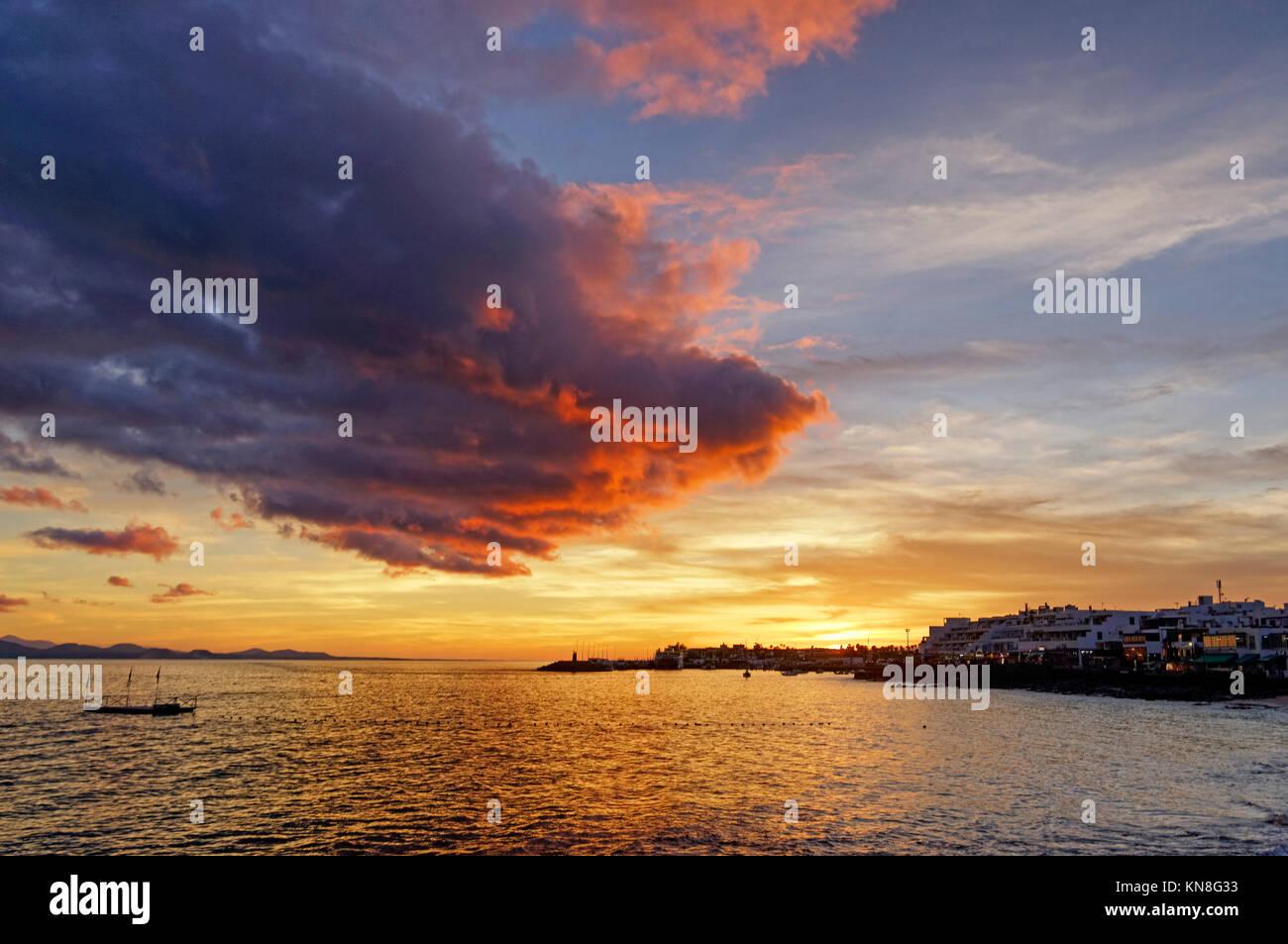 Playa Blanca, sunset, Lanzarote, Canary Islands, Spain - Stock Image