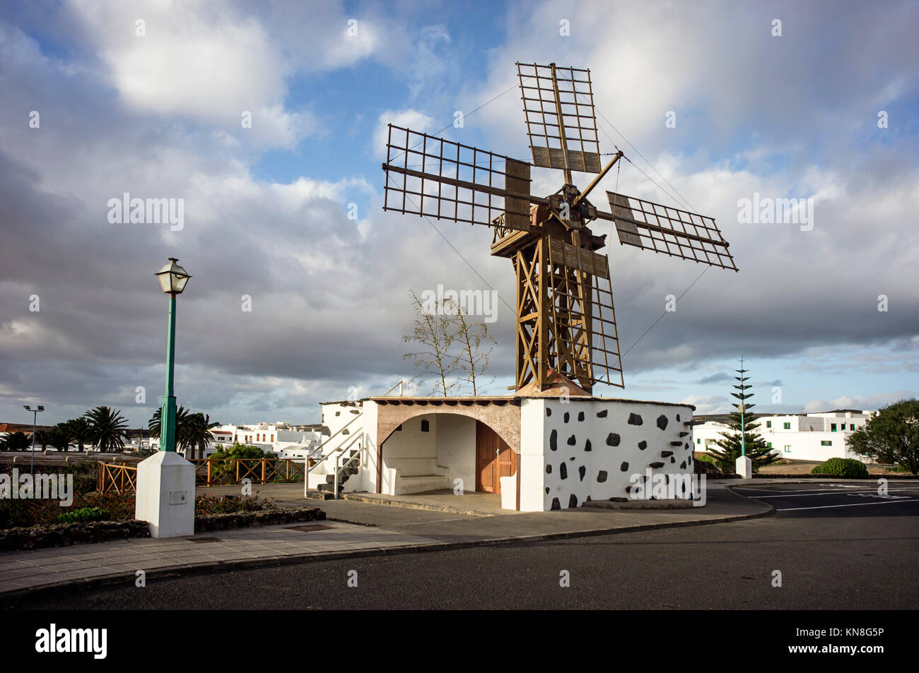 Wooden wind mill, Teguise,   Lanzarote, Canary Islands, Spain - Stock Image