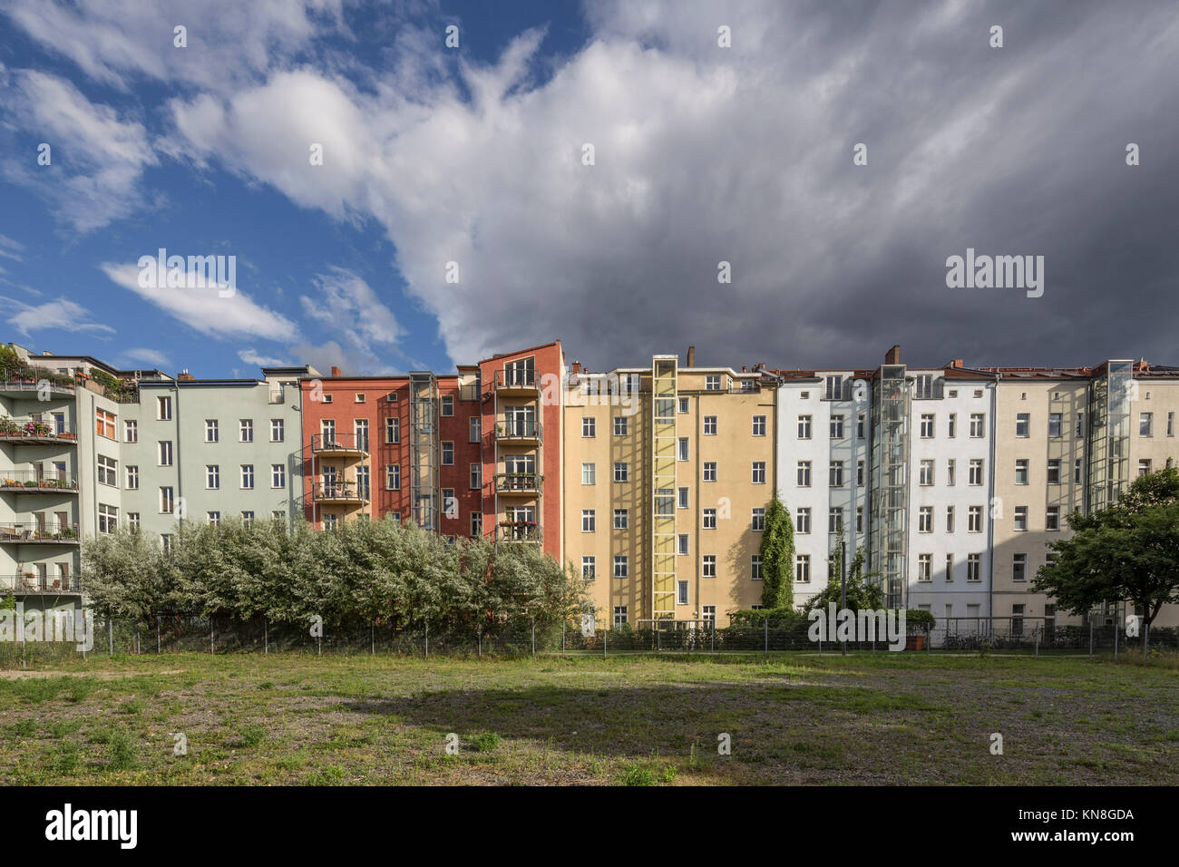 Row of Town houses Prenzlauer Berg , Berlin , Germany - Stock Image
