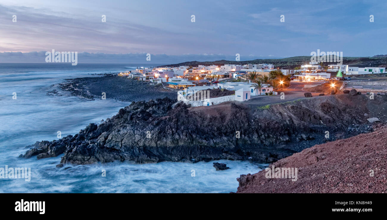El Golfo, coastline at twilight,  Lanzarote, Canary Islands, Spain - Stock Image