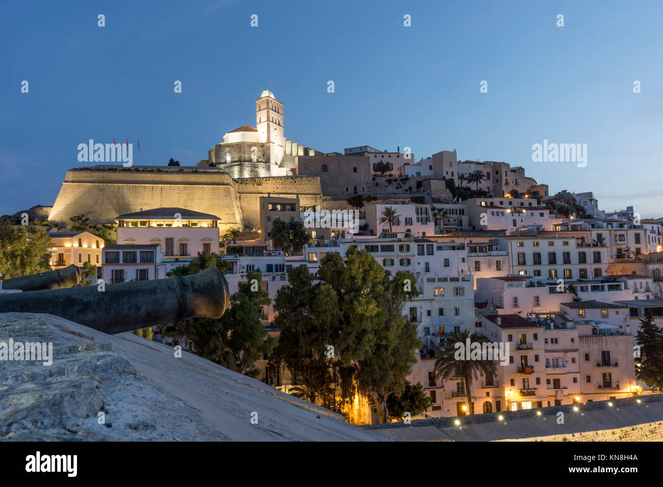 Spain, Baleares island, Ibiza, Dalt vila, sunset, overview from the fortress - Stock Image