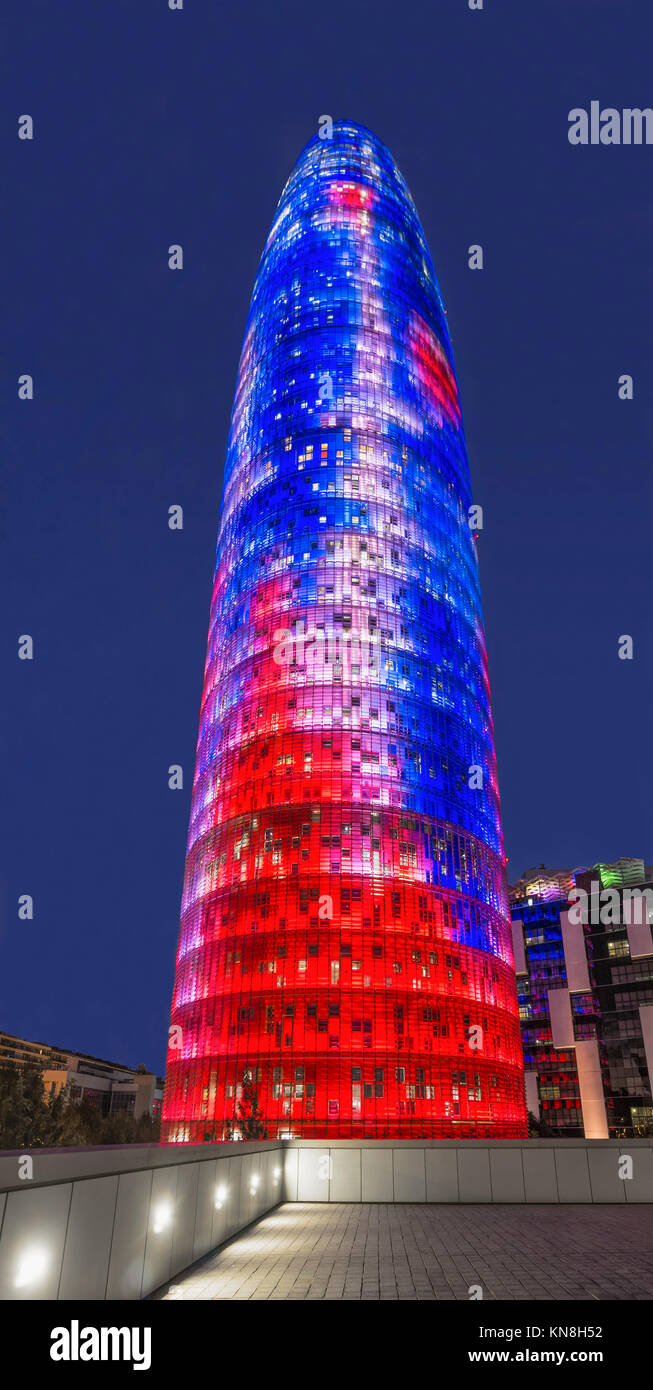 Torre Agbar by Jean Nouvel, Barcelona, Catalunia, Spain, | editorial use only - Stock Image