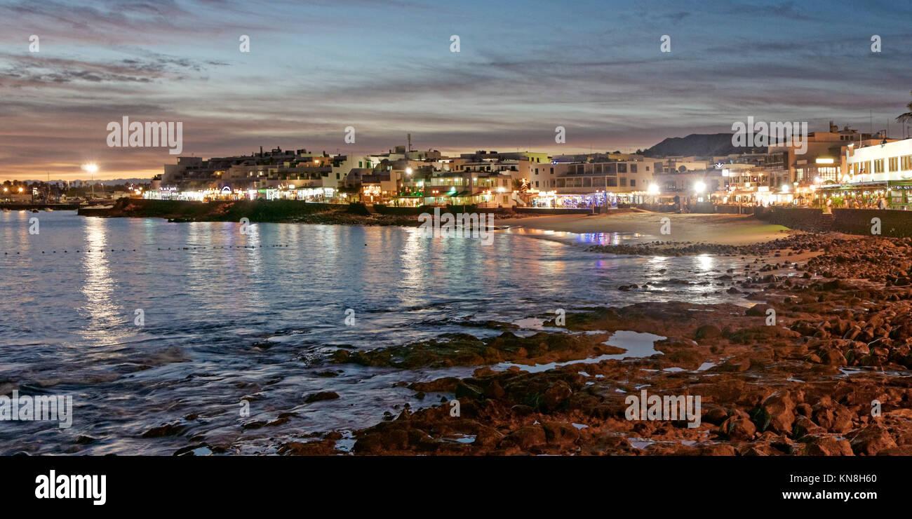 Playa Blanca promenade at sunset, Lanzarote, Canary Islands, Spain - Stock Image
