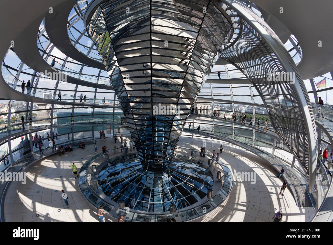 Reichtstag dome interieur, Architect Sir Norman Forster, Berlin - Stock Image