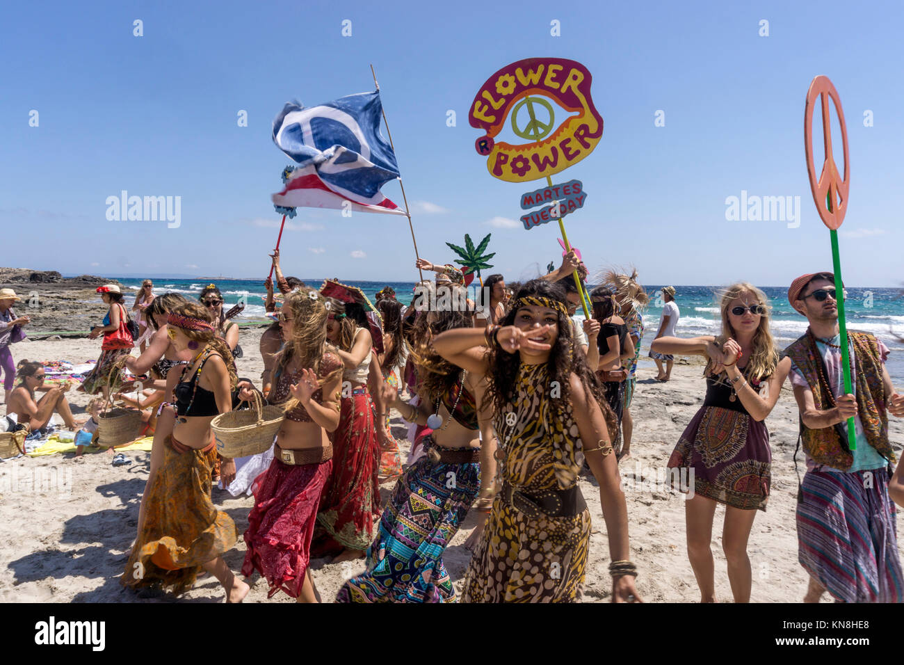 Promotion Group for Flower Power Party at  Pacha Club, Playa ses Salines,  Ibiza,  Spain - Stock Image