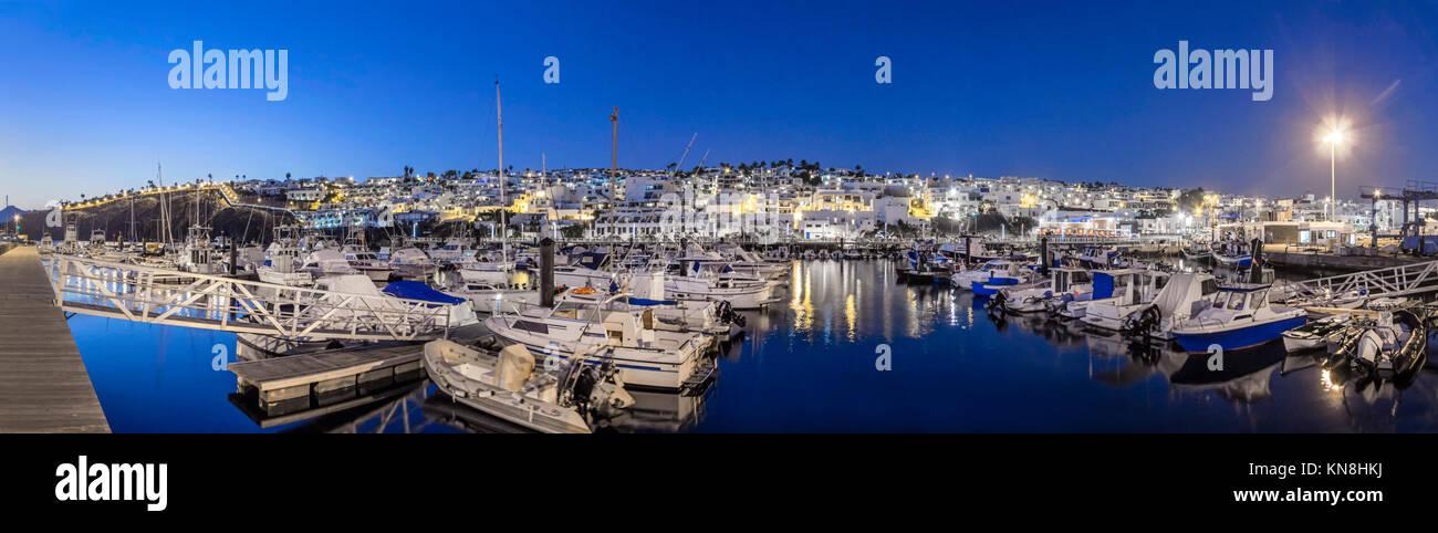 Puerto del Carmen, old port, twilight,  Lanzarote, Canary Islands, Spain - Stock Image