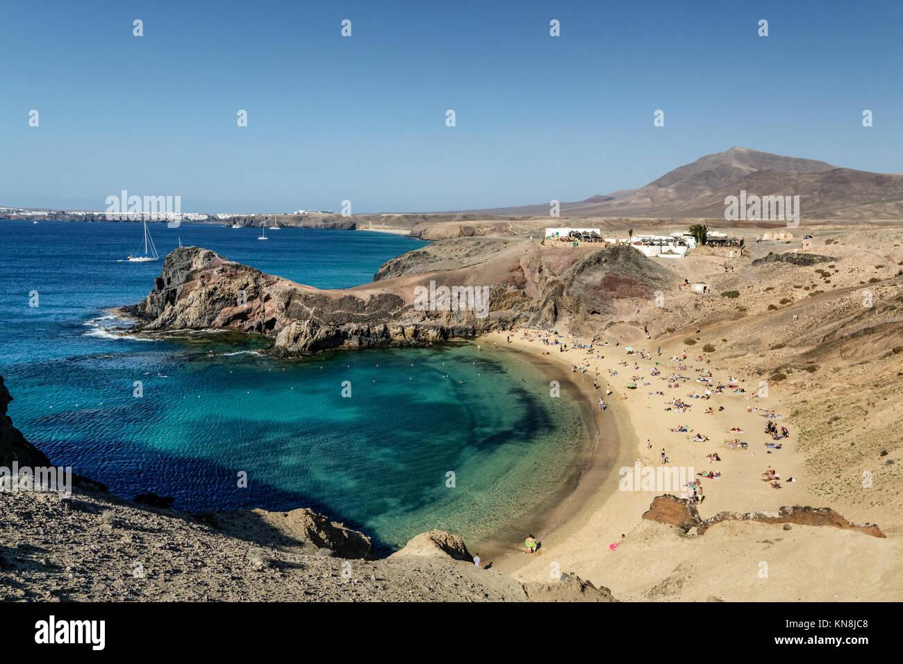 Playas de Papagayo, Atlantic Sea Lanzarote, Canary Islands, Spain - Stock Image