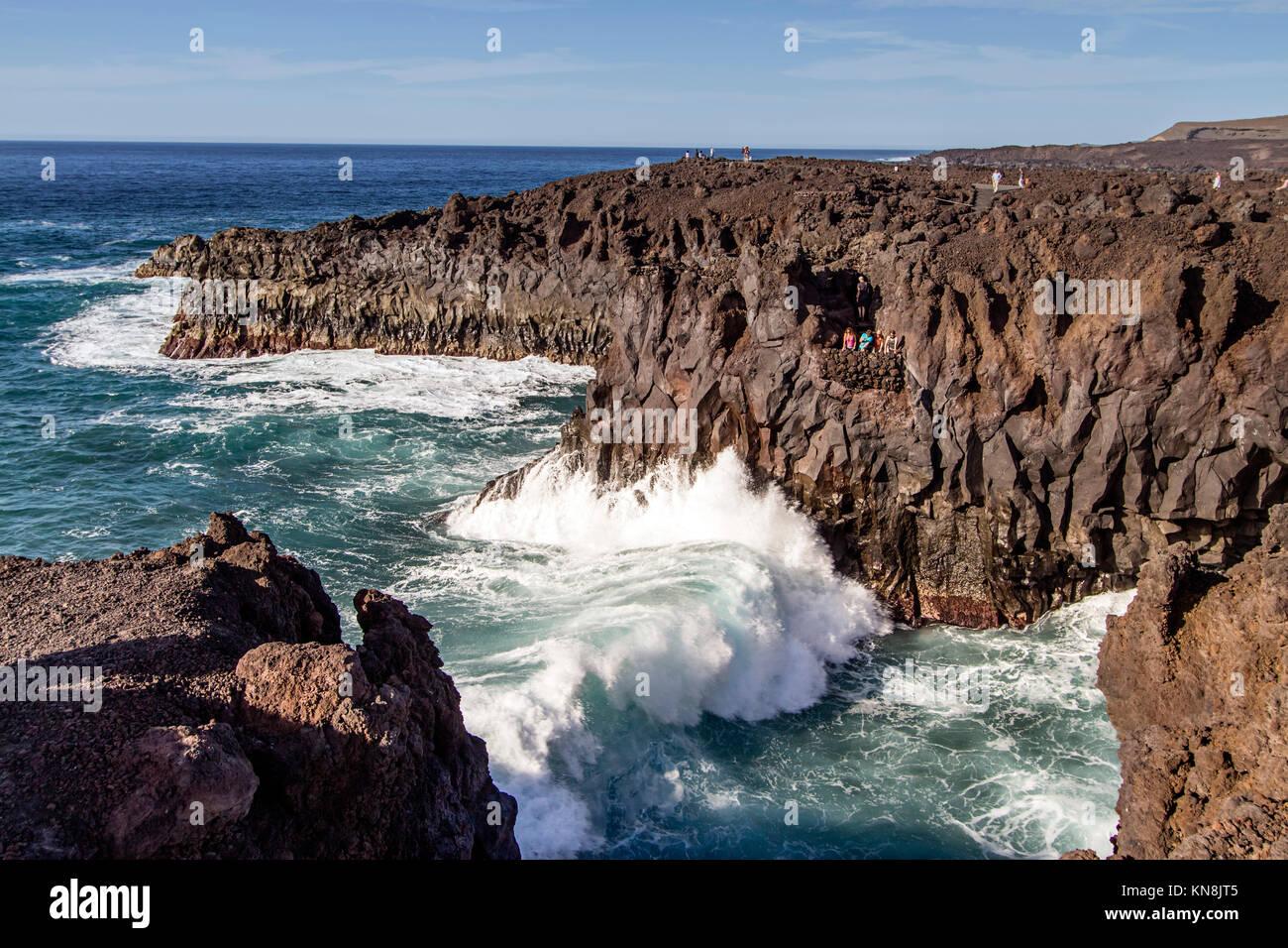 Los Hervideros,  caves , south west coast, Lanzarote, Canary Islands, Spain - Stock Image