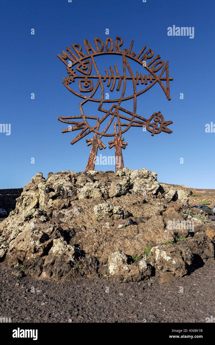 Mirador del Rio , sculpture by Cesar Manrique, Lanzarote, Canary Islands, Spain - Stock Image