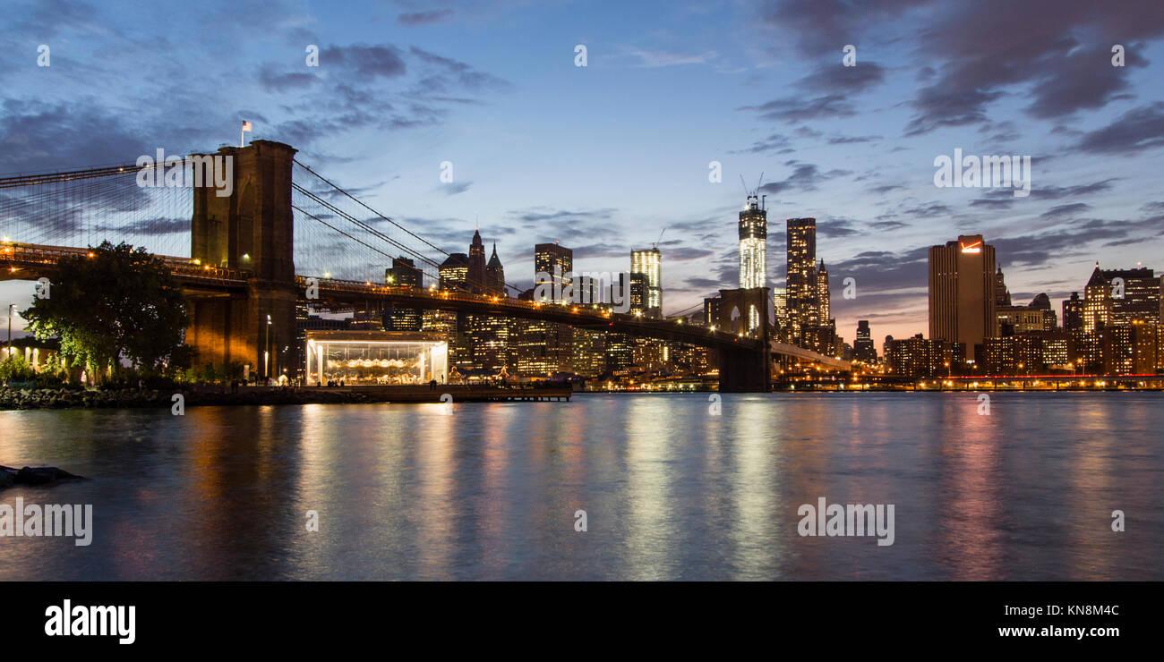 Brooklyn Bridge, Skyline Manhattan , NYC, - Stock Image