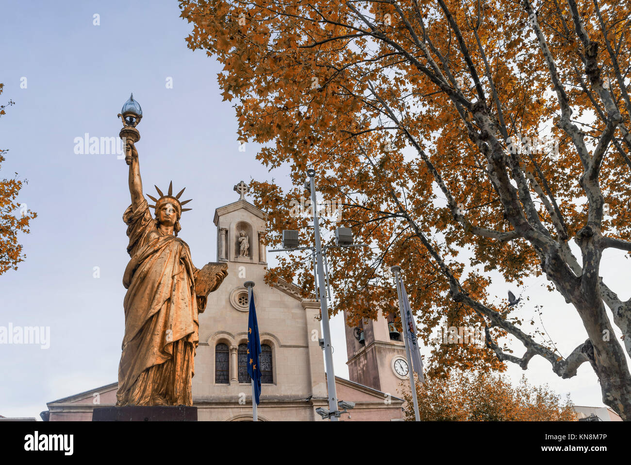 Golden Replica of the Statue of Liberty by Frédéric Bartholdi at Saint-Cyr-sur-Mer Var Département - Stock Image