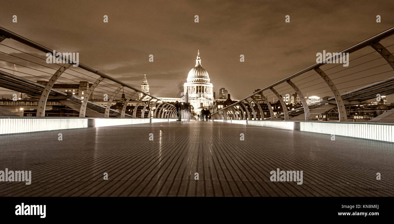St Paul's Cathedral, Millennium Bridge, London, UK, - Stock Image