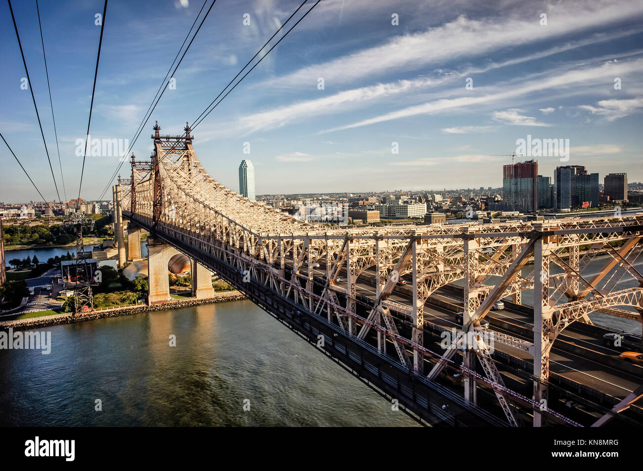 Queensboro bridge to Roosevelt Island, Manhattan, NYC, USA - Stock Image