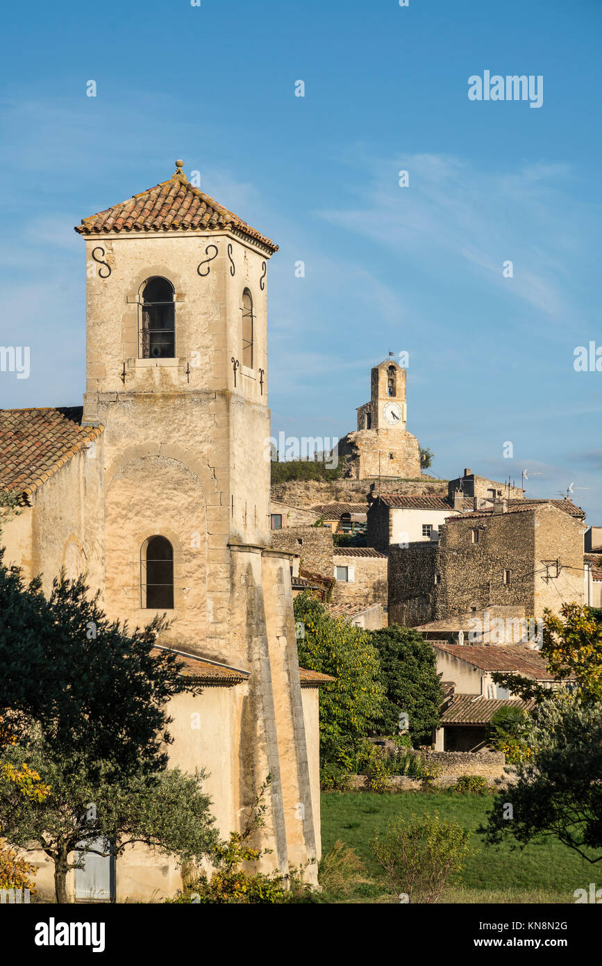 Village  Lourmarin, Medieval church , Provence , France - Stock Image