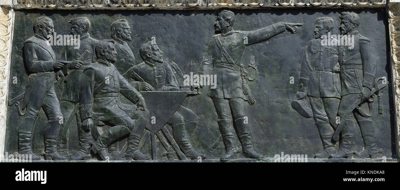 Monument of Juan Prim (1814-1870). Withdrawal from Mexico, 1882-87. Relief by Luís Puiggener (1851-1918). Ciutadella - Stock Image