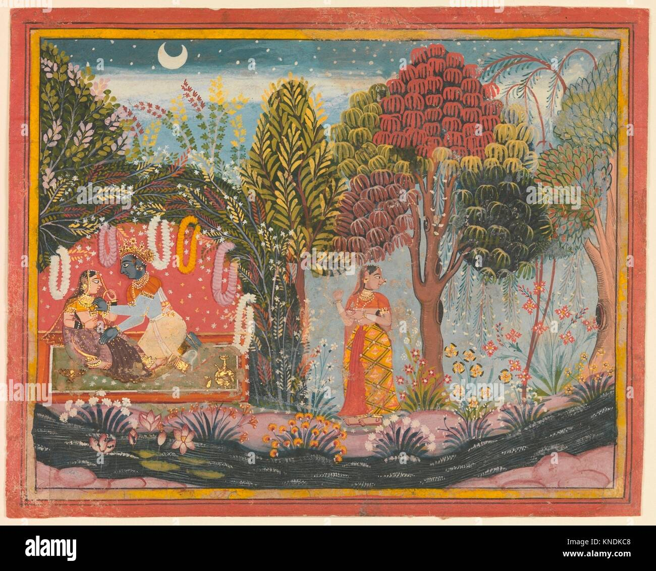 Krishna and Radha in a Bower: Page From a Dispersed Gita Govinda. Artist: Sahibdin (active ca. 1628-55); Date: ca. - Stock Image