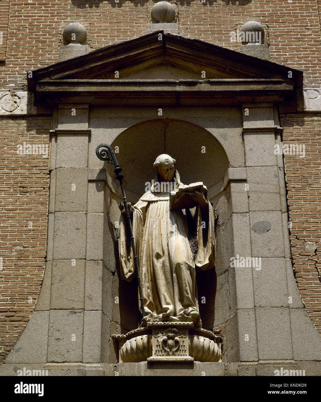 Saint Bernardo Calvo (1180-1243). Bishop and abbot of the monastery of Santa Creus. Statue on St. Bernardo monastery, - Stock Image
