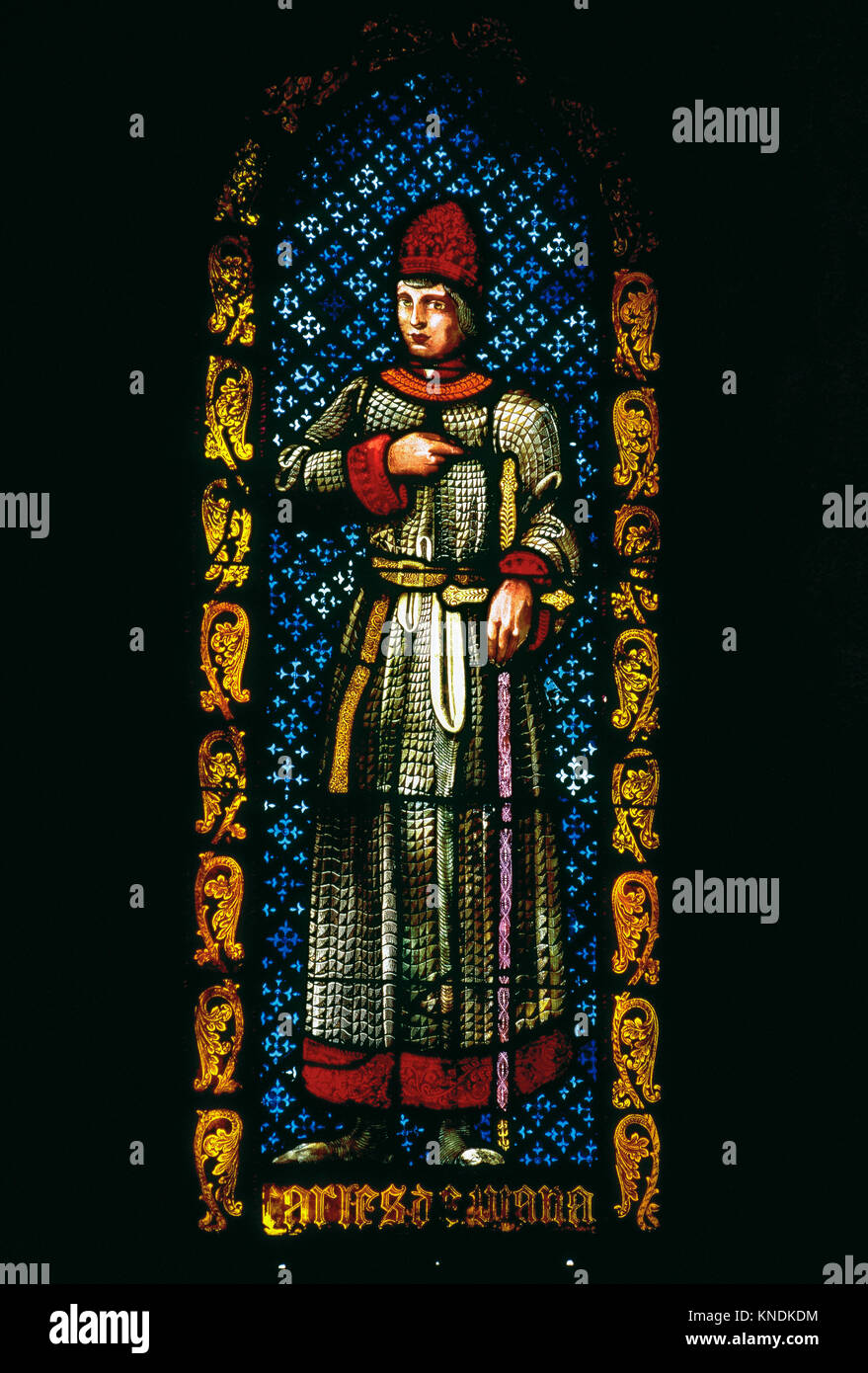 Charles, Prince of Viana (1421-1461) or Charles IV of Navarre. Stained glass. Royal Chapel or Church of St. Agueda. - Stock Image